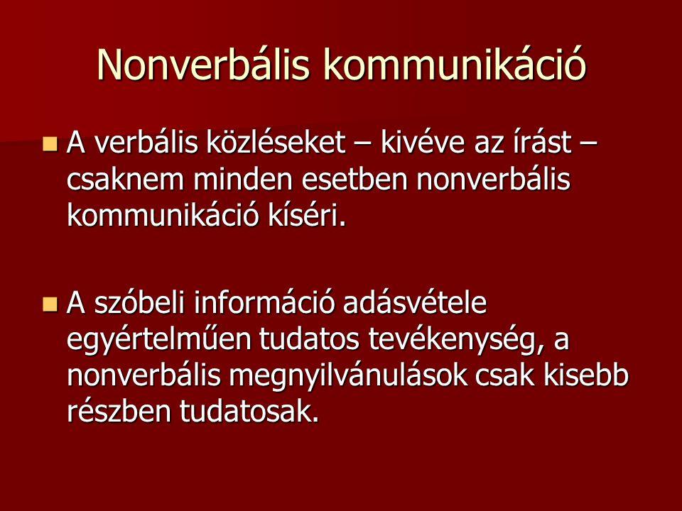 Nonverbális kommunikáció A verbális közléseket – kivéve az írást – csaknem minden esetben nonverbális kommunikáció kíséri. A verbális közléseket – kiv