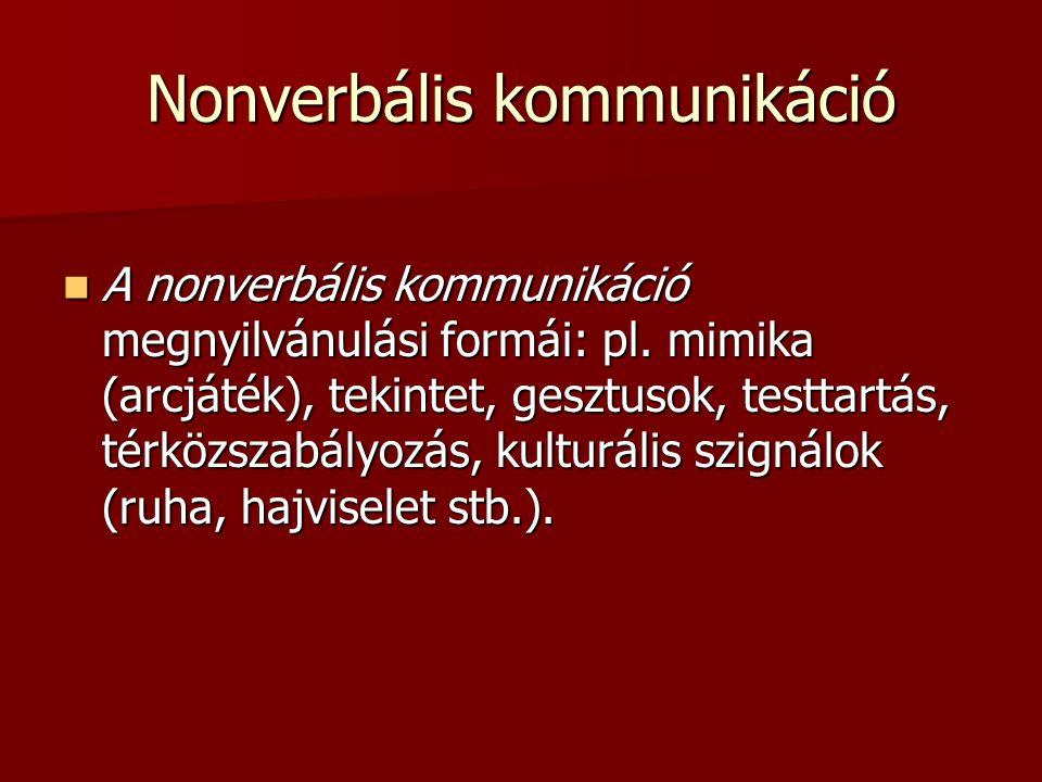 Nonverbális kommunikáció A nonverbális kommunikáció megnyilvánulási formái: pl. mimika (arcjáték), tekintet, gesztusok, testtartás, térközszabályozás,