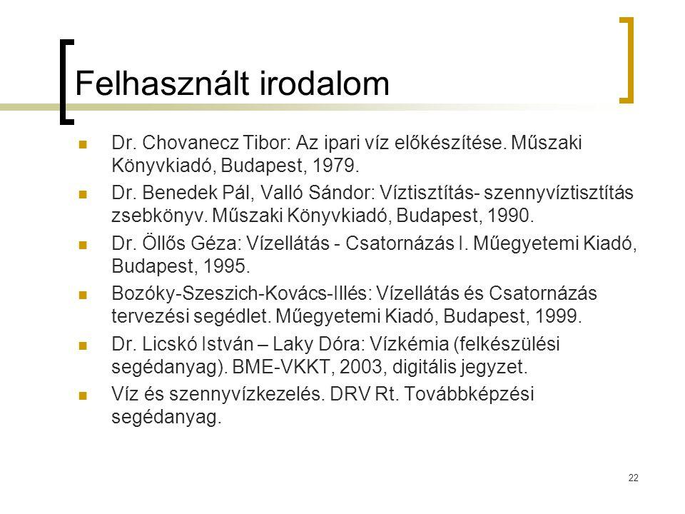 22 Felhasznált irodalom Dr. Chovanecz Tibor: Az ipari víz előkészítése. Műszaki Könyvkiadó, Budapest, 1979. Dr. Benedek Pál, Valló Sándor: Víztisztítá