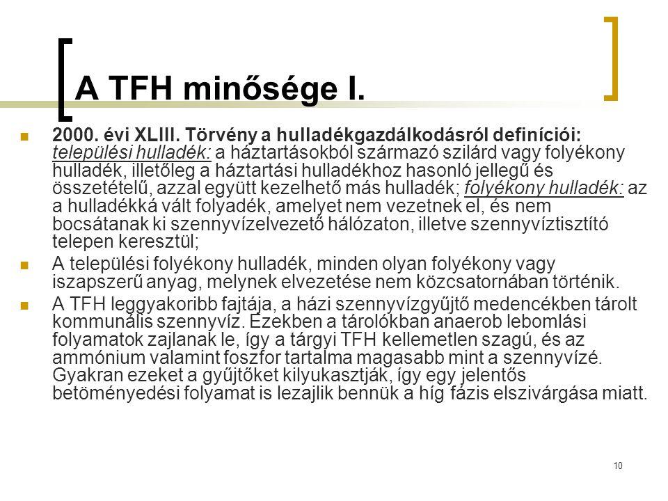 10 A TFH minősége I.2000. évi XLIII.