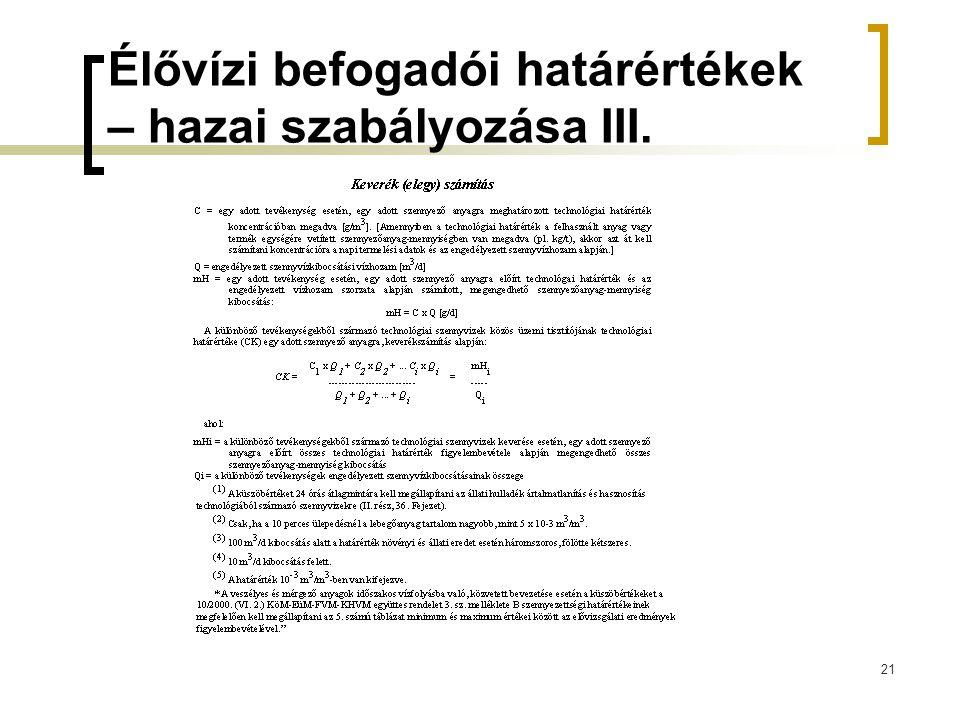 21 Élővízi befogadói határértékek – hazai szabályozása III.