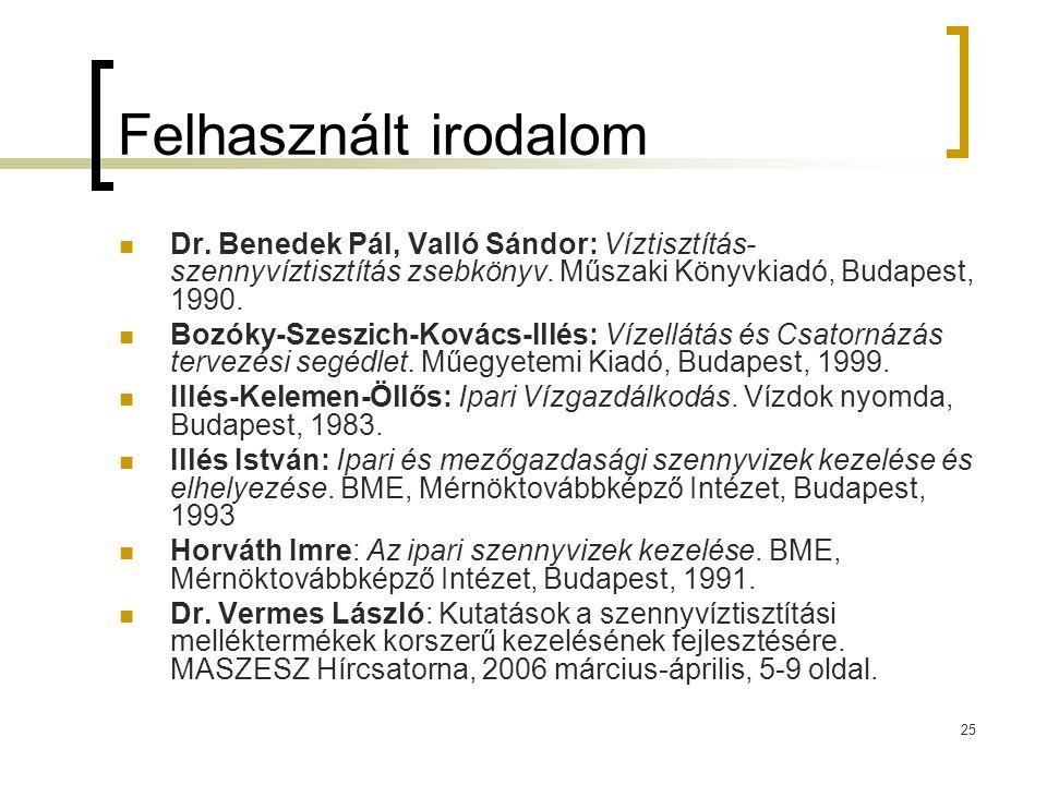 25 Felhasznált irodalom Dr.Benedek Pál, Valló Sándor: Víztisztítás- szennyvíztisztítás zsebkönyv.