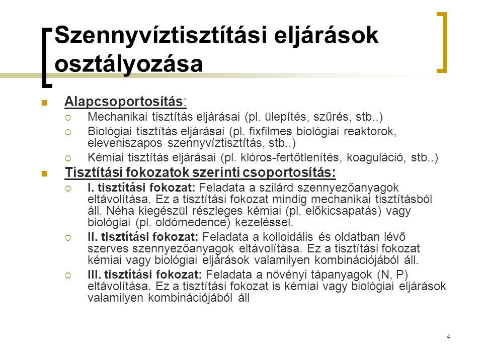 4 Szennyvíztisztítási eljárások osztályozása Alapcsoportosítás:  Mechanikai tisztítás eljárásai (pl.