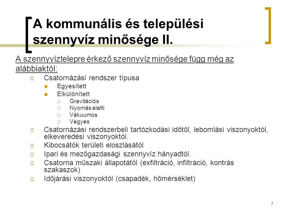 7 A kommunális és települési szennyvíz minősége II.