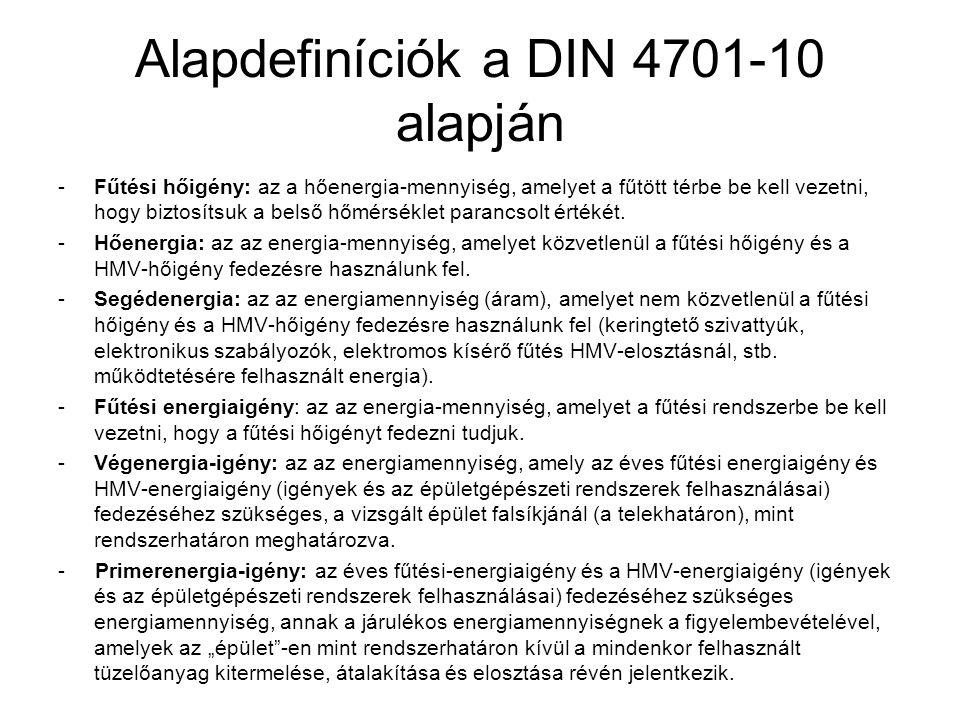 Alapdefiníciók a DIN 4701-10 alapján -Fűtési hőigény: az a hőenergia-mennyiség, amelyet a fűtött térbe be kell vezetni, hogy biztosítsuk a belső hőmér