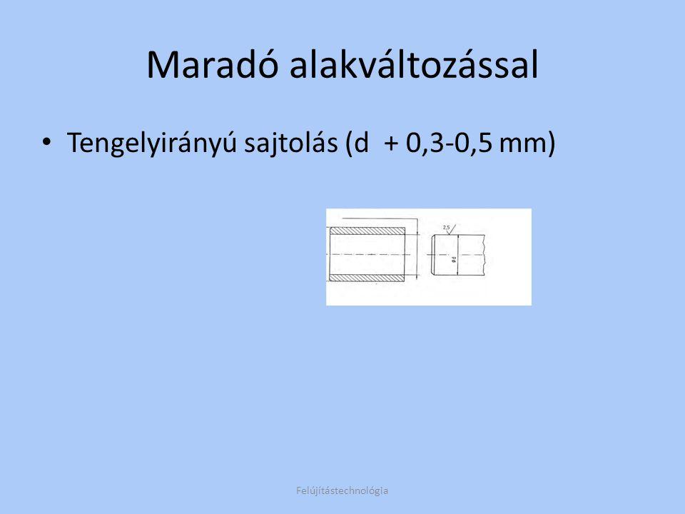 Maradó alakváltozással Tengelyirányú sajtolás (d + 0,3-0,5 mm) Felújítástechnológia