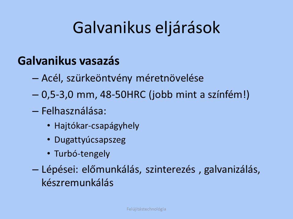 Galvanikus eljárások Galvanikus vasazás – Acél, szürkeöntvény méretnövelése – 0,5-3,0 mm, 48-50HRC (jobb mint a színfém!) – Felhasználása: Hajtókar-cs