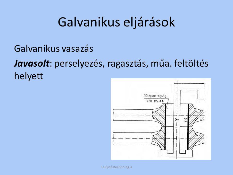 Galvanikus eljárások Galvanikus vasazás Javasolt: perselyezés, ragasztás, műa. feltöltés helyett Felújítástechnológia
