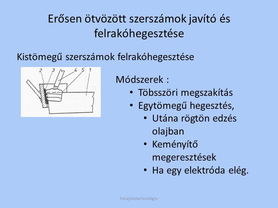 Hidegalakító-és kivágószerszámok javítóhegesztése Az ideális szerszámanyag –bénites Alkalmazott technológia: 2; 3 A 4.