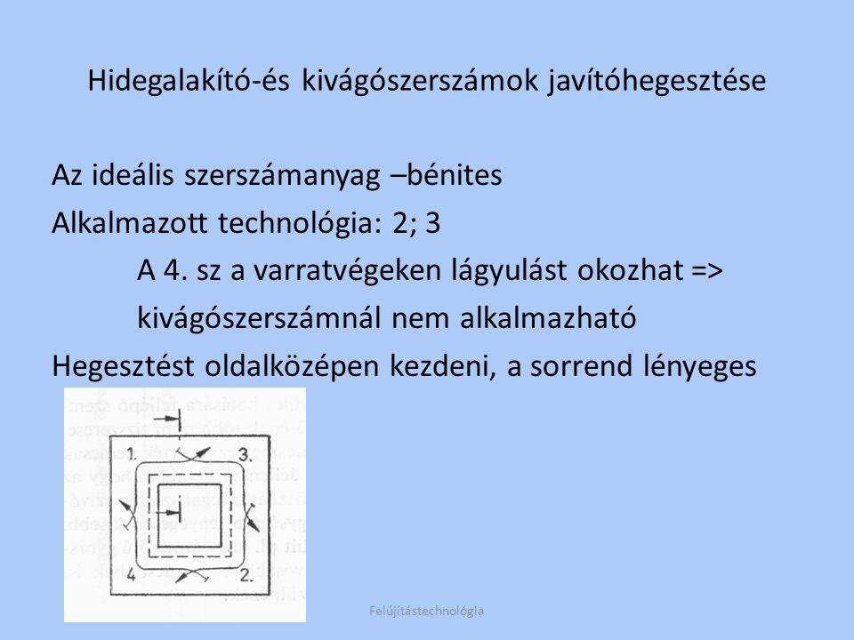 A forgácsolószerszámoknál használatos módszer alkalmas (3;4 technológia) Egytömegű hegesztés esetén piramis alakú tömbök alakítandók Felújítástechnológia Hidegalakító-és kivágószerszámok felrakóhegesztése