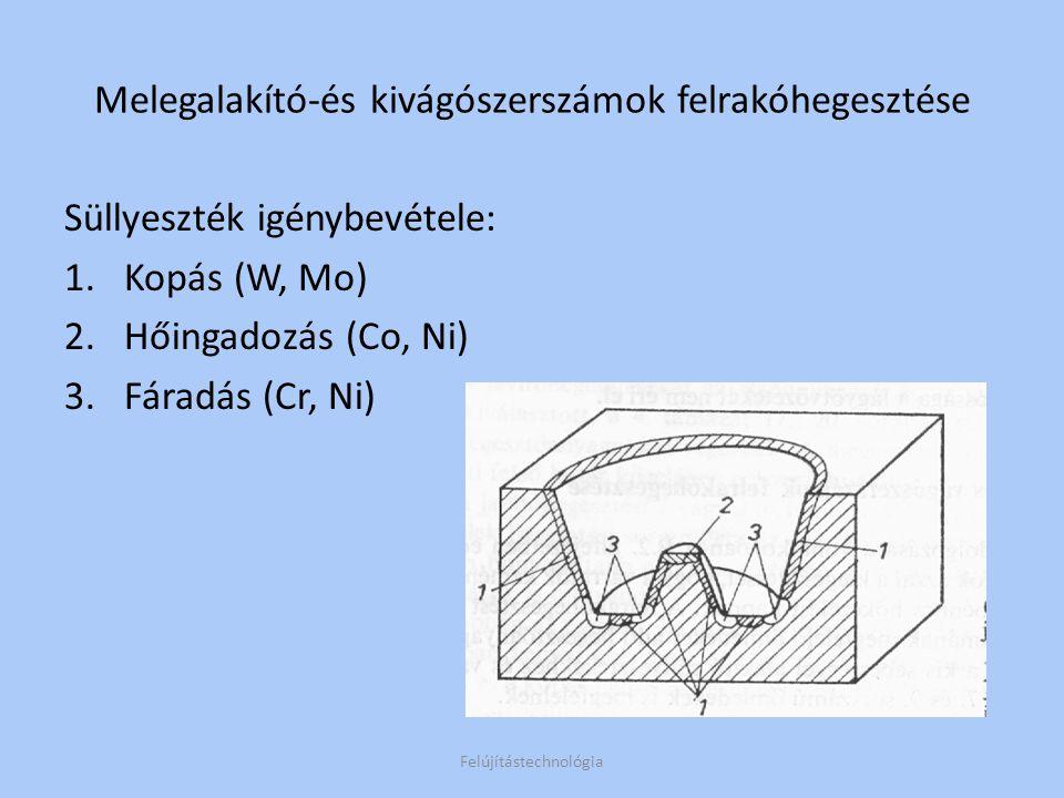 Hegesztés menete: Rétegvastagság szerinti előüregelés Előmelegítés 300-400°C-ra (ausztenites Cr, Ni ötvözők) Tovább melegítés ~500 °C-ra (W,Mo,Co, Ni lágyötvözők) Hűtés levegőn Keményítő megeresztés (2x 0,5 óra) Készremunkálás ellenőrzés Felújítástechnológia Melegalakító-és kivágószerszámok felrakóhegesztése