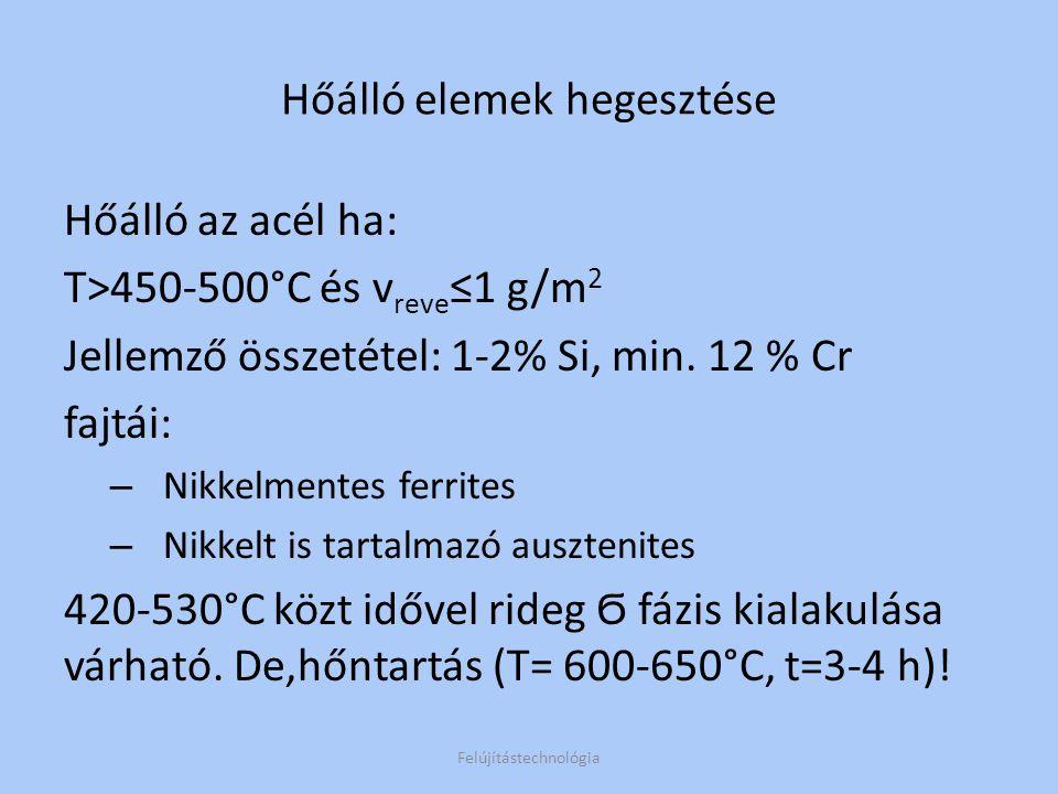 Ha 20>Cr% 850-900°C Technolóia: 1.Ferrites a)Hengerelt lemez T előm =200-300°C( 0,5-4mm AWI) b)Öntvény T előm =250-400°C (bevont.