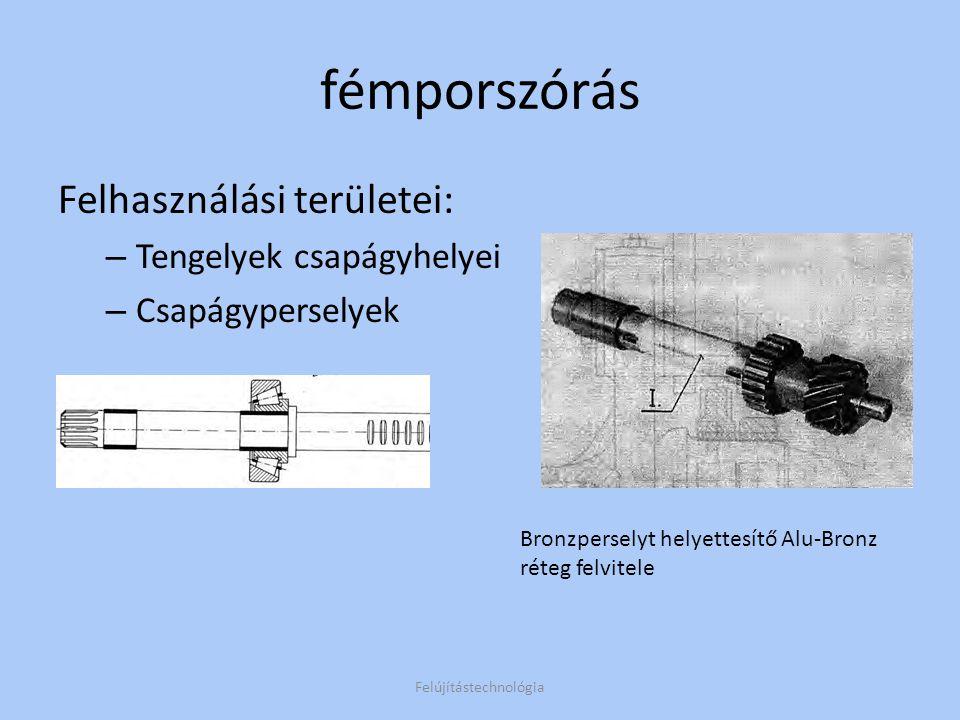 Meleg fémporszórás Különbségek: +1 művelet, felvitel után beolvasztás(~1000°C) Porozitás megszűnik, folyamatos tömör réteg Az ömledék nem keveredik az alapfémmel, de a felületbe diffundál Felújítástechnológia A felület diffúziója az alapanyagba