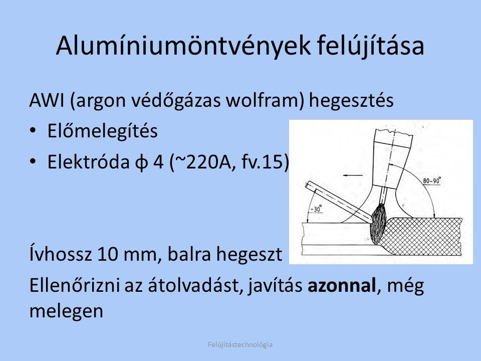 Alumíniumöntvények felújítása Technológia jellemzői: A javítandó alkatrészek többsége SI, Mg,és Cu ötvözőket tartalmaz A bevonat ötvözőkön kívül folyósítószert is tartalmaz Az öntvénynél magasabb Si tartalmú elektróda használata javasolt.