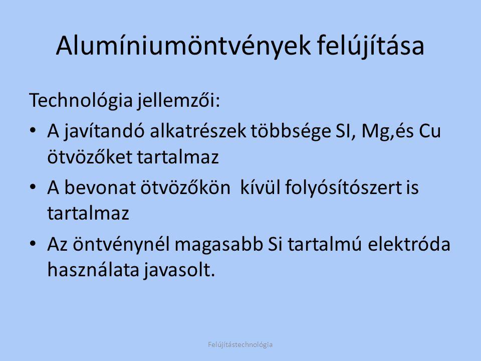 Alumíniumöntvények felújítása Példák: Felújítástechnológia