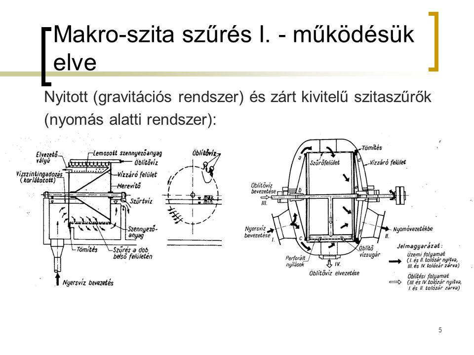 5 Makro-szita szűrés I. - működésük elve Nyitott (gravitációs rendszer) és zárt kivitelű szitaszűrők (nyomás alatti rendszer):