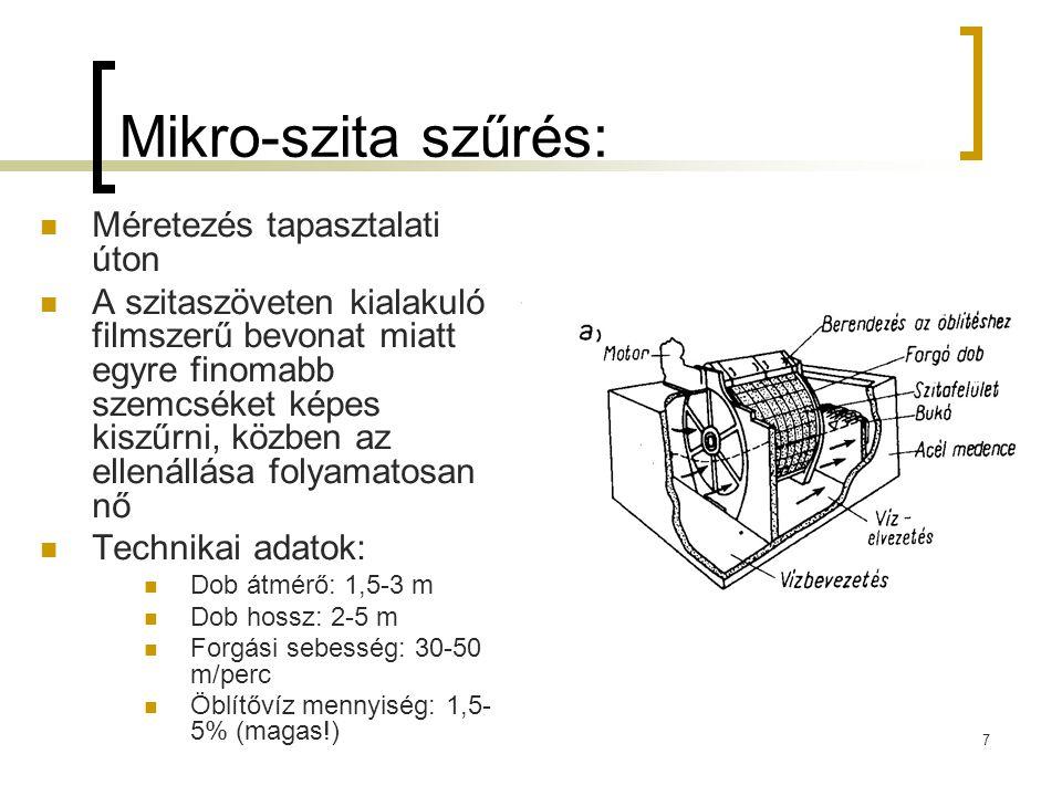 7 Mikro-szita szűrés: Méretezés tapasztalati úton A szitaszöveten kialakuló filmszerű bevonat miatt egyre finomabb szemcséket képes kiszűrni, közben a