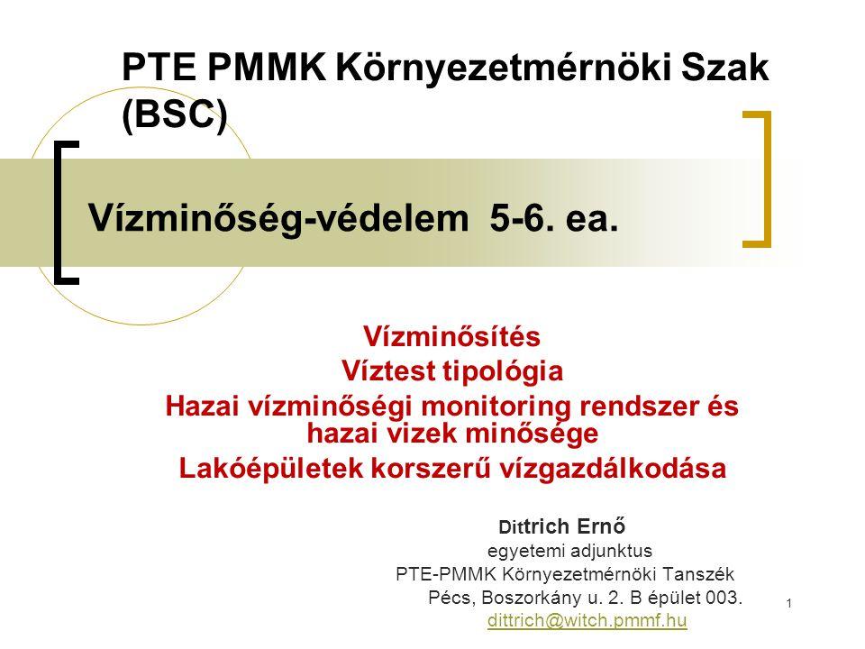 Toxicitás Toxicitás: víz mérgező képessége A mérgezőképesség mérése általában biológiai teszt- módszerrel.