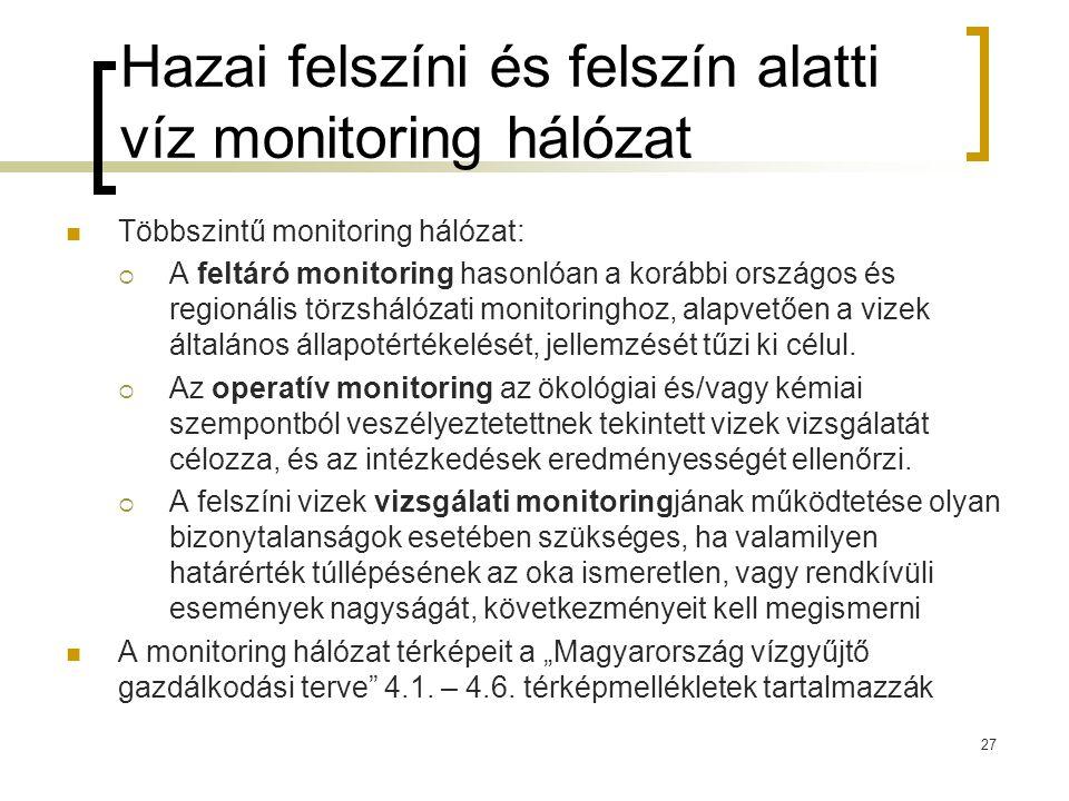 Hazai felszíni és felszín alatti víz monitoring hálózat Többszintű monitoring hálózat:  A feltáró monitoring hasonlóan a korábbi országos és regionális törzshálózati monitoringhoz, alapvetően a vizek általános állapotértékelését, jellemzését tűzi ki célul.