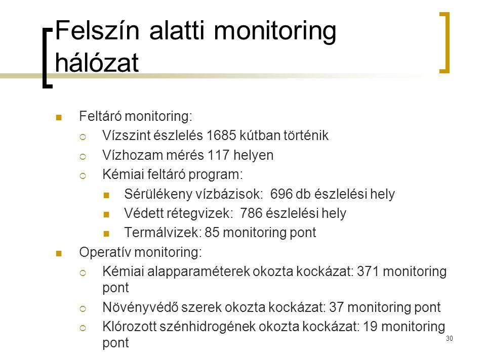 Felszín alatti monitoring hálózat Feltáró monitoring:  Vízszint észlelés 1685 kútban történik  Vízhozam mérés 117 helyen  Kémiai feltáró program: Sérülékeny vízbázisok: 696 db észlelési hely Védett rétegvizek: 786 észlelési hely Termálvizek: 85 monitoring pont Operatív monitoring:  Kémiai alapparaméterek okozta kockázat: 371 monitoring pont  Növényvédő szerek okozta kockázat: 37 monitoring pont  Klórozott szénhidrogének okozta kockázat: 19 monitoring pont 30