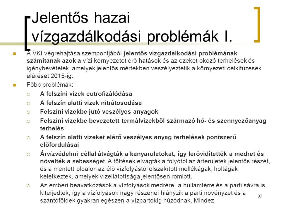 Jelentős hazai vízgazdálkodási problémák I.