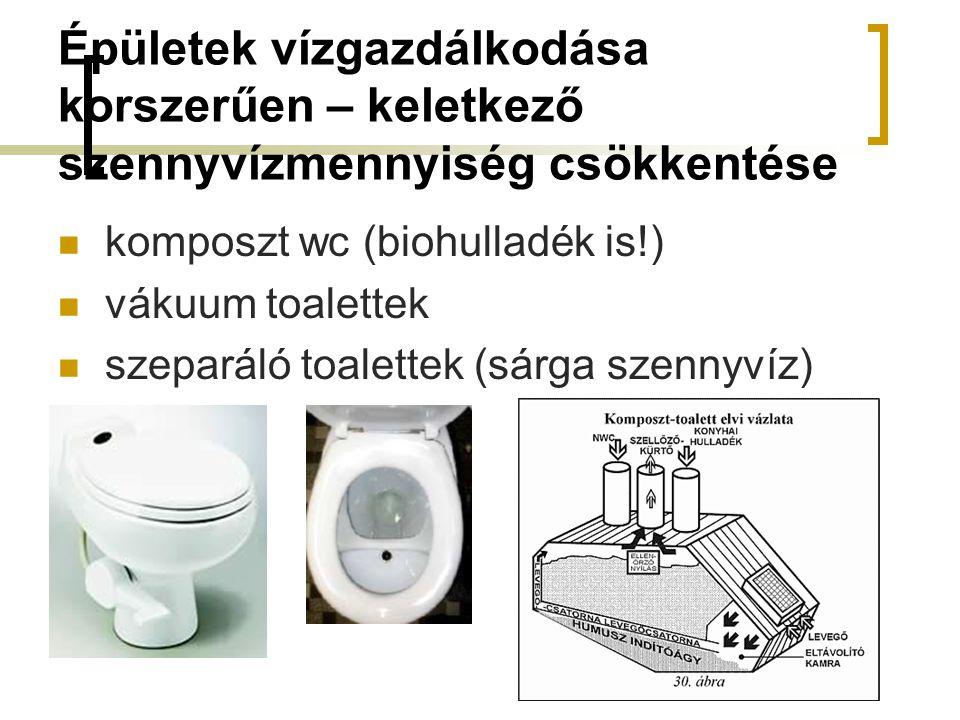 Épületek vízgazdálkodása korszerűen – keletkező szennyvízmennyiség csökkentése komposzt wc (biohulladék is!) vákuum toalettek szeparáló toalettek (sárga szennyvíz)