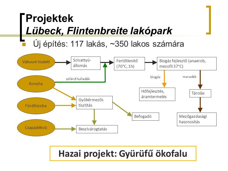 Projektek Lübeck, Flintenbreite lakópark Új építés: 117 lakás, ~350 lakos számára Vákuum toalett Fürdőszoba Konyha Csapadékvíz szilárd hulladék biogáz maradék Szivattyú- állomás Fertőtlenítő (70°C, 1h) Biogáz fejlesztő (anaerob, mezofil 37°C) Gyökérmezős tisztítás Beszivárogtatás Befogadó Hőfejlesztés, áramtermelés Tárolás Mezőgazdasági hasznosítás Hazai projekt: Gyürüfű ökofalu
