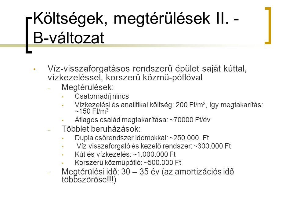 Költségek, megtérülések II.
