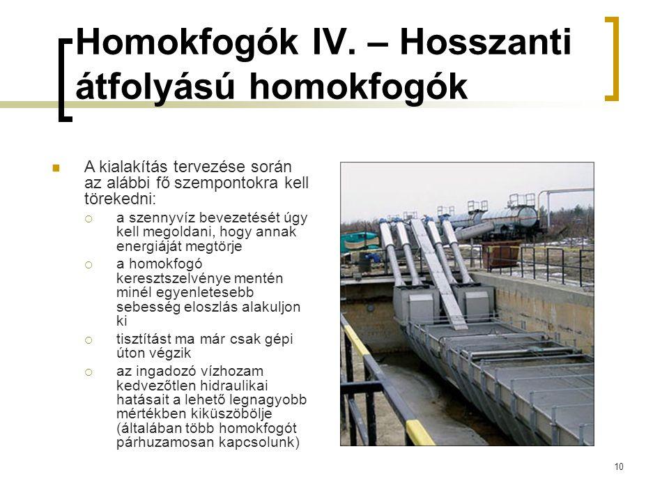 10 Homokfogók IV. – Hosszanti átfolyású homokfogók A kialakítás tervezése során az alábbi fő szempontokra kell törekedni:  a szennyvíz bevezetését úg