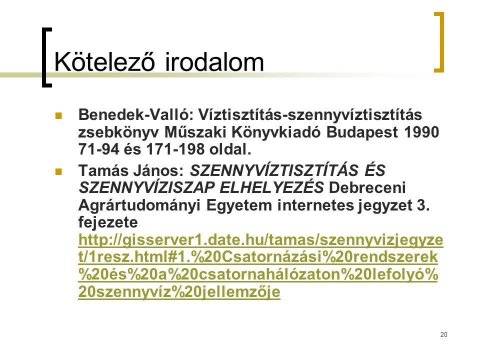 20 Kötelező irodalom Benedek-Valló: Víztisztítás-szennyvíztisztítás zsebkönyv Műszaki Könyvkiadó Budapest 1990 71-94 és 171-198 oldal. Tamás János: SZ