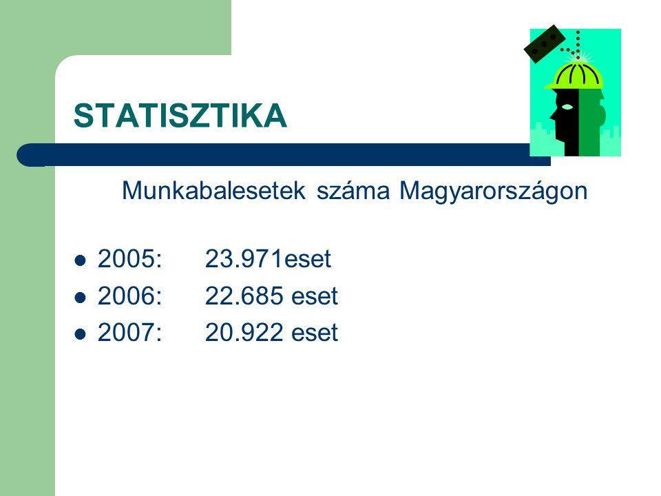 STATISZTIKA Halálos kimenetelű munkabalesetek száma Magyarországon: 2005:125 eset 2006:123 eset 2007:118 eset
