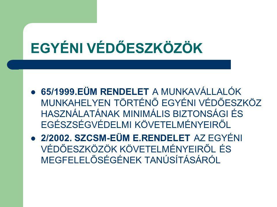EGYÉNI VÉDŐESZKÖZÖK 65/1999.EÜM RENDELET A MUNKAVÁLLALÓK MUNKAHELYEN TÖRTÉNŐ EGYÉNI VÉDŐESZKÖZ HASZNÁLATÁNAK MINIMÁLIS BIZTONSÁGI ÉS EGÉSZSÉGVÉDELMI K