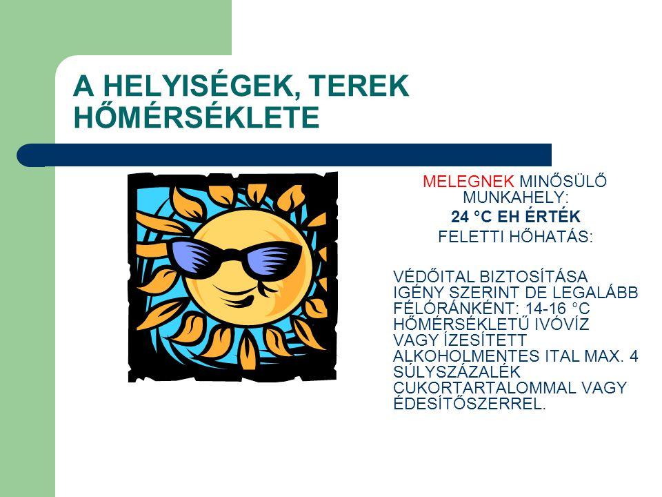 A HELYISÉGEK, TEREK HŐMÉRSÉKLETE MELEGNEK MINŐSÜLŐ MUNKAHELY: 24 °C EH ÉRTÉK FELETTI HŐHATÁS: VÉDŐITAL BIZTOSÍTÁSA IGÉNY SZERINT DE LEGALÁBB FÉLÓRÁNKÉ