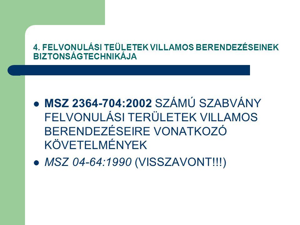 4. FELVONULÁSI TEÜLETEK VILLAMOS BERENDEZÉSEINEK BIZTONSÁGTECHNIKÁJA MSZ 2364-704:2002 SZÁMÚ SZABVÁNY FELVONULÁSI TERÜLETEK VILLAMOS BERENDEZÉSEIRE VO