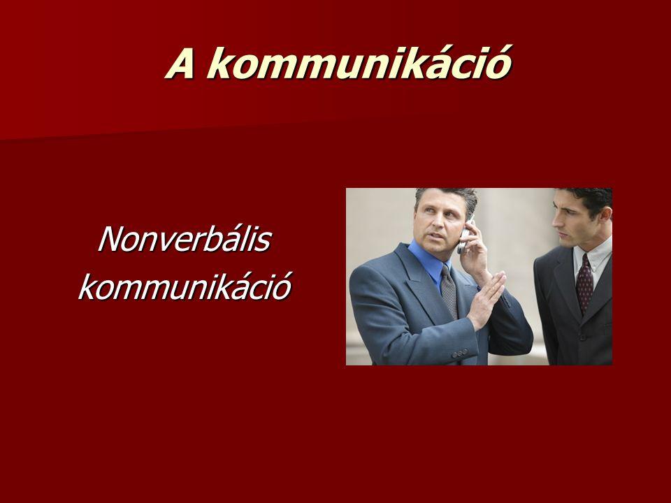 A kommunikáció Nonverbáliskommunikáció