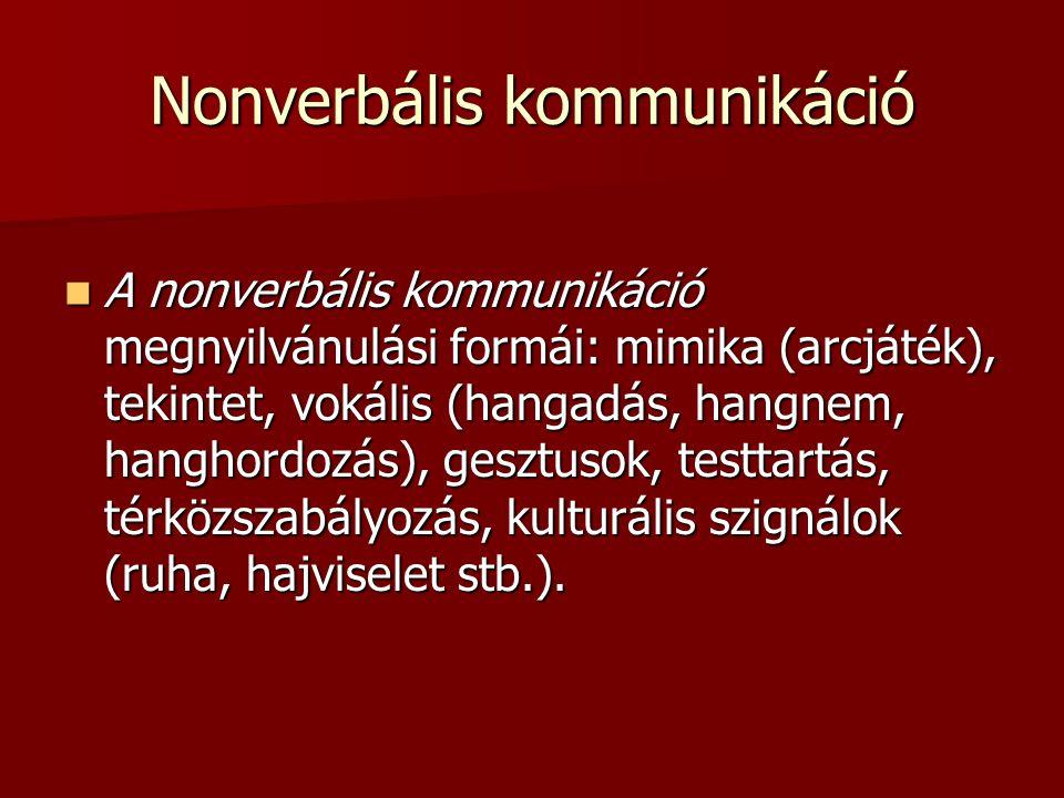 Nonverbális kommunikáció A nonverbális kommunikáció megnyilvánulási formái: mimika (arcjáték), tekintet, vokális (hangadás, hangnem, hanghordozás), ge