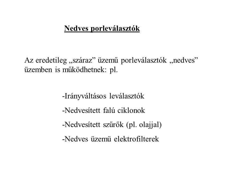 """Nedves porleválasztók Az eredetileg """"száraz üzemű porleválasztók """"nedves üzemben is működhetnek: pl."""