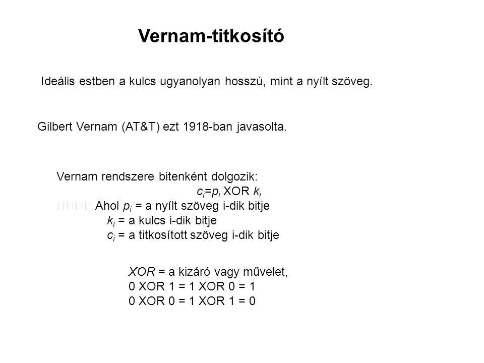 """A XOR művelet kedvező tulajdonságai XOR = """"kizáró vagy ( 1 XOR 1 = 0 miatt ) Jelölése: ⊕ Műveleti tulajdonságok x XOR y = y XOR x x XOR (y XOR z) = (x XOR y) XOR z x XOR x = 0 x XOR 0 = x Ezért (x XOR y) XOR y = x, vagyis ha kétszer végezzük el a XOR-műveletet ugyanazzal az y-nal, visszakapjuk az eredeti x-et."""