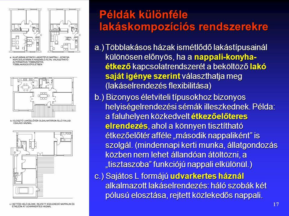 16 A helyiségkapcsolati rendszerek alkalmazása A jelenlegi magyar előírások nem zárják ki a tárgyalt helyiségkapcsolati rendszerek egyikét sem. A hely