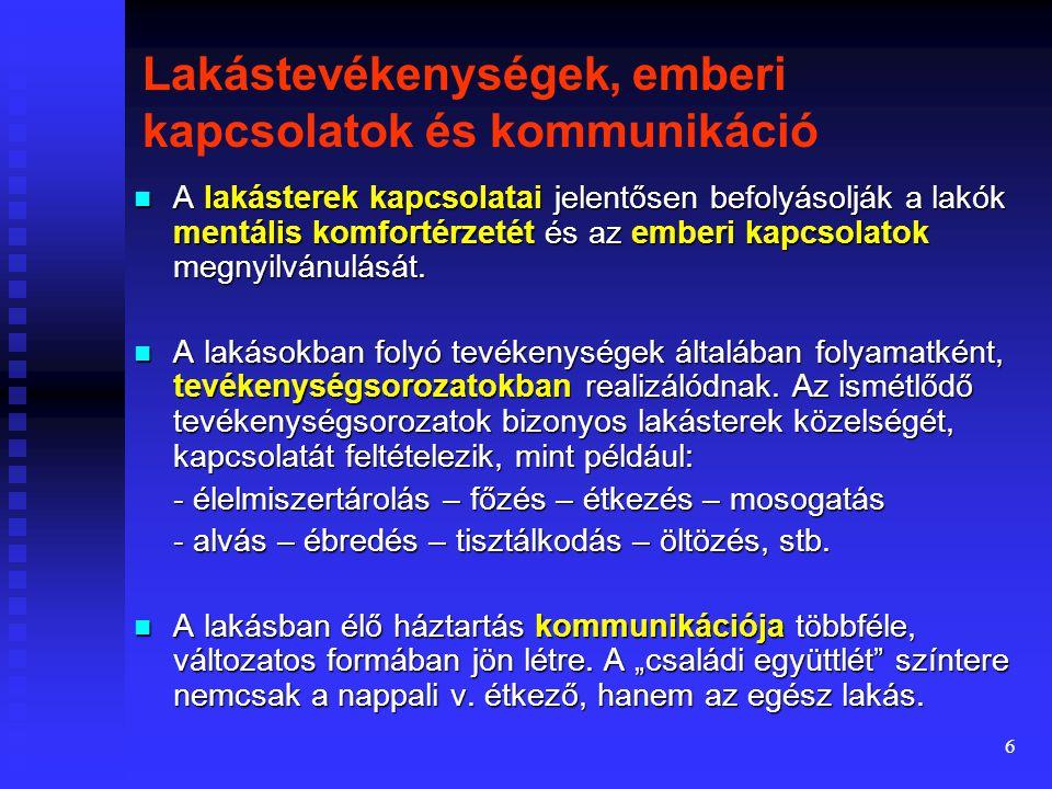 16 A helyiségkapcsolati rendszerek alkalmazása A jelenlegi magyar előírások nem zárják ki a tárgyalt helyiségkapcsolati rendszerek egyikét sem.