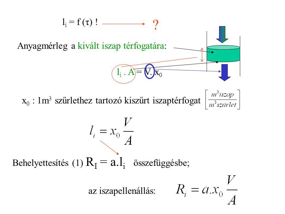 l i = f (τ) ! ? Anyagmérleg a kivált iszap térfogatára: l i. A = V. x 0 x 0 : 1m 3 szűrlethez tartozó kiszűrt iszaptérfogat Behelyettesítés (1) R I =