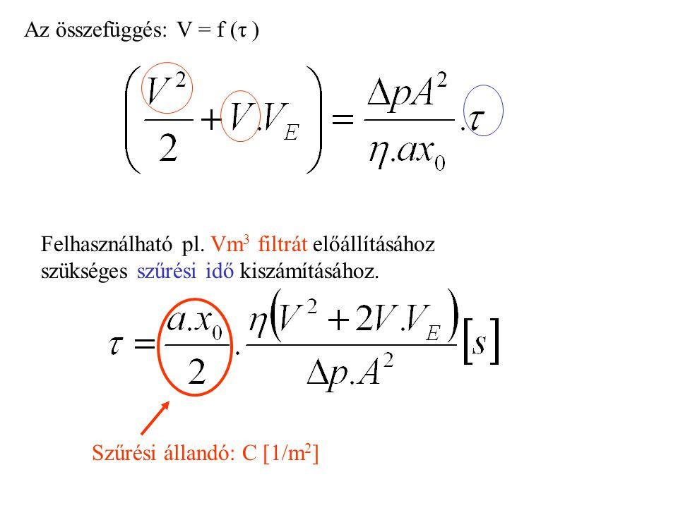 Az összefüggés: V = f (τ ) Felhasználható pl. Vm 3 filtrát előállításához szükséges szűrési idő kiszámításához. Szűrési állandó: C [1/m 2 ]