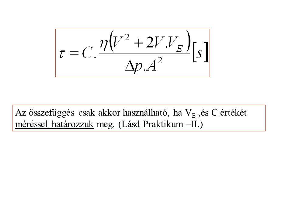 Az összefüggés csak akkor használható, ha V E,és C értékét méréssel határozzuk meg. (Lásd Praktikum –II.)