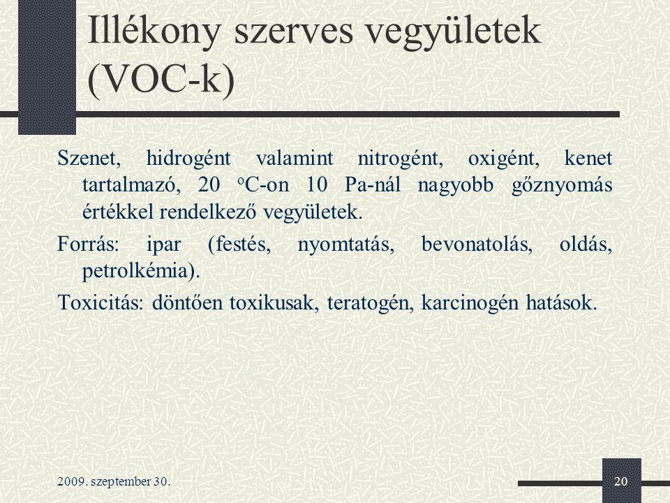 2009. szeptember 30.20 Illékony szerves vegyületek (VOC-k) Szenet, hidrogént valamint nitrogént, oxigént, kenet tartalmazó, 20 o C-on 10 Pa-nál nagyob