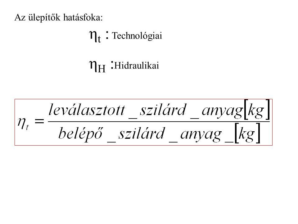 Az ülepítők hatásfoka: η t : Technológiai η H : Hidraulikai