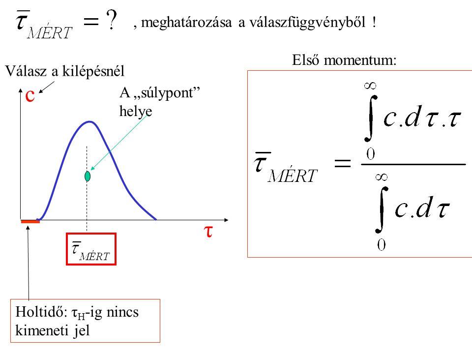 """Válasz a kilépésnél Holtidő: τ H -ig nincs kimeneti jel Első momentum:, meghatározása a válaszfüggvényből ! τ c A """"súlypont"""" helye"""