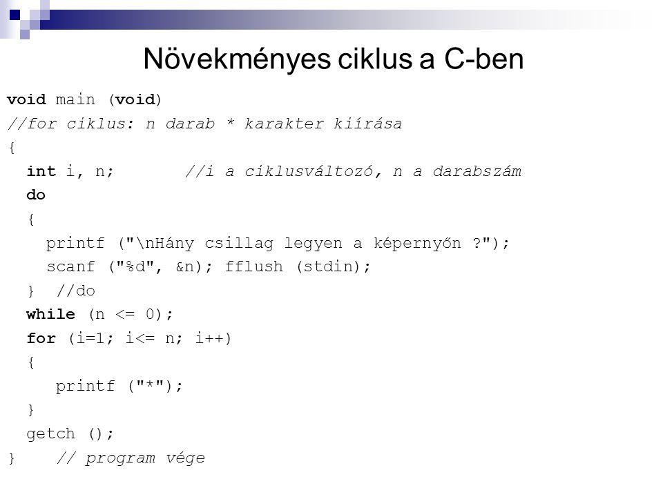 Növekményes ciklus a C-ben void main (void) //for ciklus: n darab * karakter kiírása { int i, n; //i a ciklusváltozó, n a darabszám do { printf (