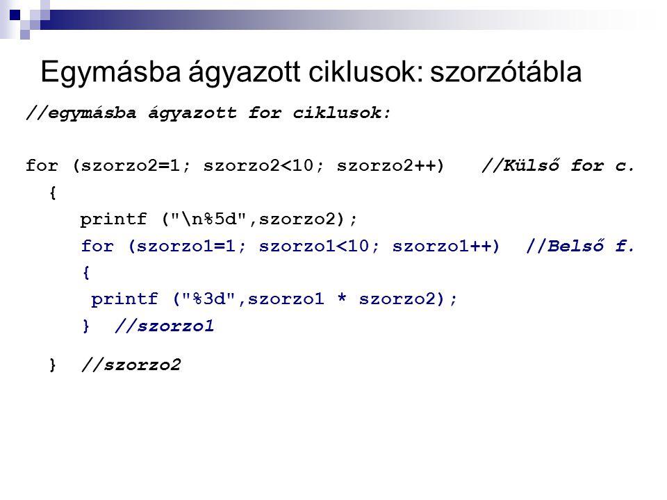 Egymásba ágyazott ciklusok: szorzótábla //egymásba ágyazott for ciklusok: for (szorzo2=1; szorzo2<10; szorzo2++) //Külső for c. { printf (