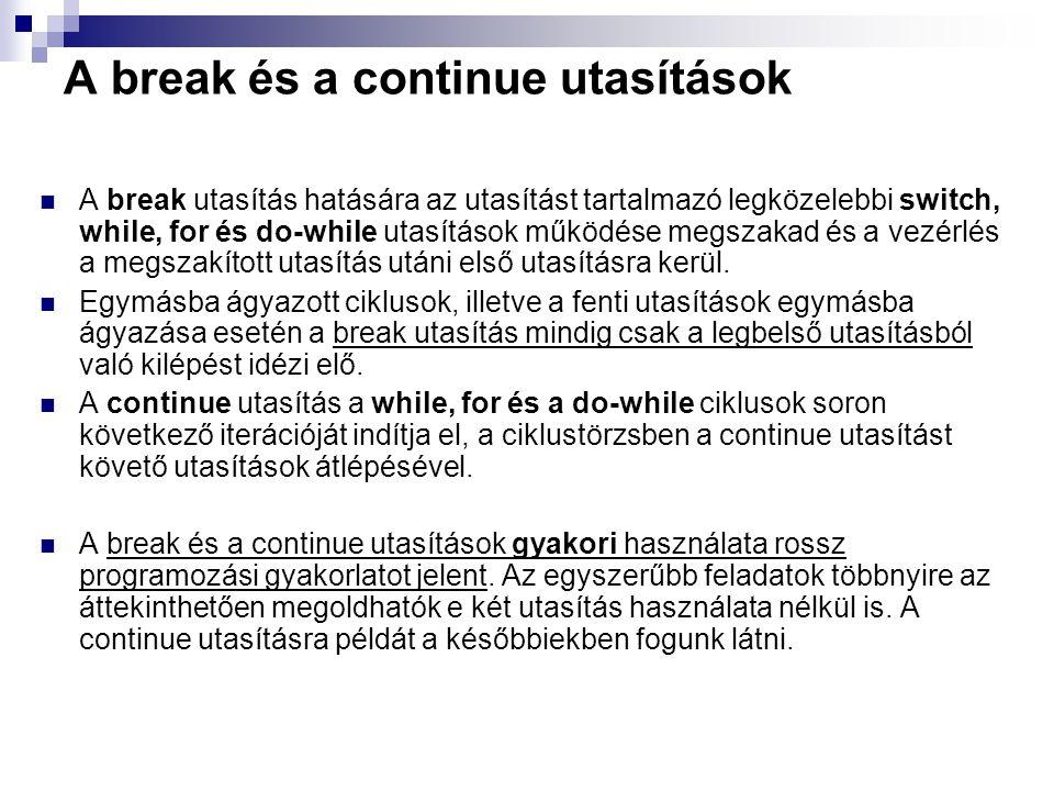 A break és a continue utasítások A break utasítás hatására az utasítást tartalmazó legközelebbi switch, while, for és do-while utasítások működése meg