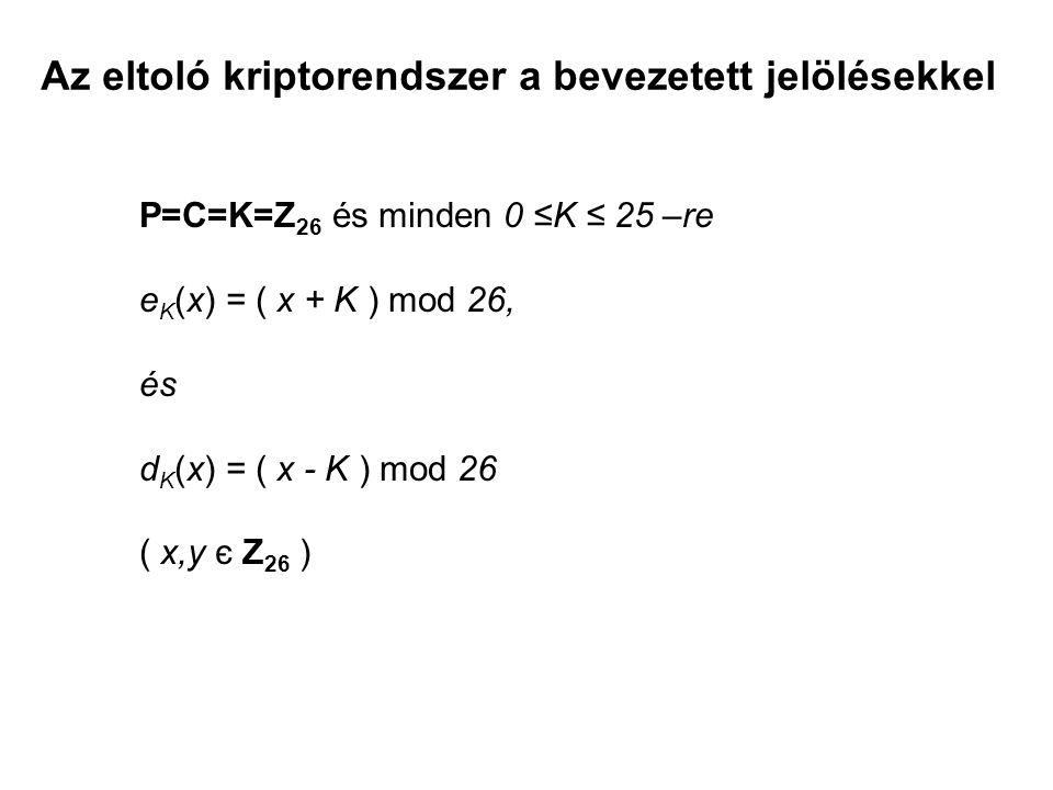 Az eltoló kriptorendszer a bevezetett jelölésekkel P=C=K=Z 26 és minden 0 ≤K ≤ 25 –re e K (x) = ( x + K ) mod 26, és d K (x) = ( x - K ) mod 26 ( x,y